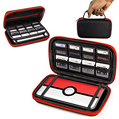 Orzly 2DS XL Case, Carry Case for New Nintendo 2DS XL - Protective Hard Shell Portable Travel Case Pouch for New 2DS XL Console with Slots for Games & Zip Pocket - RED on Black