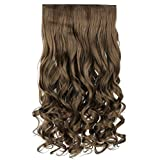 REECHO 20' 1-pack 3/4 Full Head Curly Wave Clips in on Synthetic Hair Extensions Hair pieces for Women 5 Clips 4.6 Oz Per Piece - Ash Light Brown
