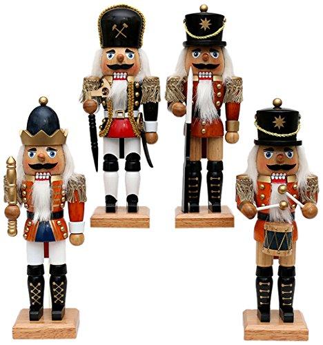Sigro Vogtland Souvenir 4 verschillende notenkraker, nobel, 24 cm, houtkleurig, één maat