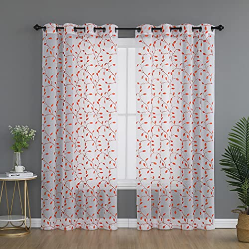 KEQIAOSUOCAI Leaf Sheer Curtains Coral Pattern Embroidery on White Flax Linen Blend Textured Semi Sheer Voile Curtains 84 Inches Length for Nursery Girls Room Ring Top