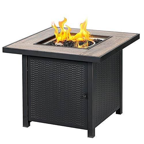 BALI OUTDOORS Propane Gas Fire Pit Table, 30 inch 50,000 BTU Square Gas Firepits with Fire Glass for...