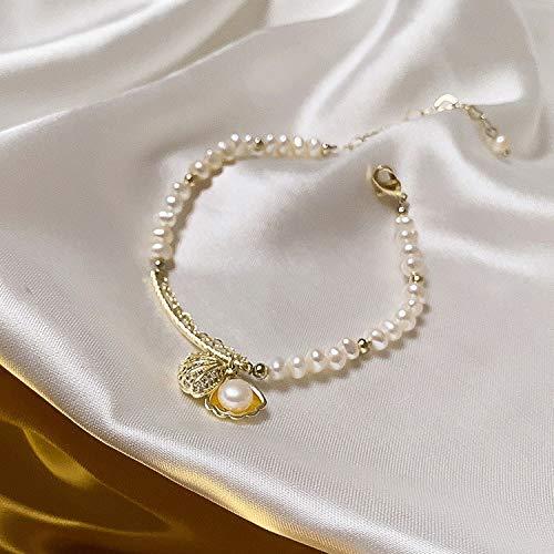 LXMYLI Pulsera De Perlas, Joyería Simple De La Pulsera del Colgante De Concha De Perla De Agua Dulce para Las Mujeres