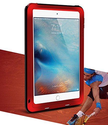 LOVE MEI Waterdichte Case voor Apple iPad Mini 4, Merk Aluminium Materiaal met Gehard Glas Scherm Cover *Twee Jaar Garantie*