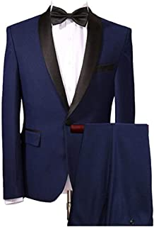 Men's Navy Blue Wedding Suits 2 Pieces One Button Men Suits Groom Tuxedos