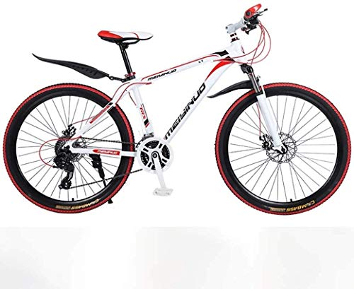 PARTAS Advanced Riders, Wheel Front Suspension Mens Bicycle, 26In 24-Speed Mountain Bike for Adult, Lightweight Aluminum Alloy Full Frame, Disc Brake (Color : Red, Size : 100)