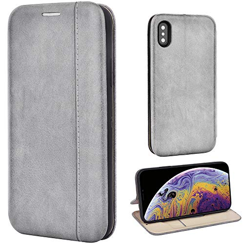 Leaum Handyhülle für Apple iPhone XS/X Hülle, Premium Leder Tasche Flip Schutzhülle (Grau)