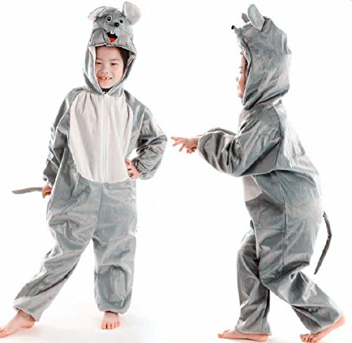 """Children Party Costume Cartoon Animal Costume Funny Clothes Performance Kids Cosplay Costume (L(Height 41.3""""-47.2""""/105cm-120cm), Grey Mouse)"""