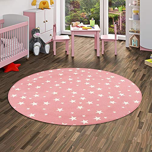 Alfombra Infantil y de Juego Redonda con diseño de Estrellas - Rosa - 4 tamaños