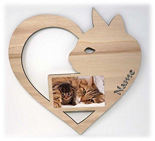 Katze Bilderrahmen Holz Deko Geschenk I Katzen Haustier Zoo Design Herz Motiv mit Namen Individuell