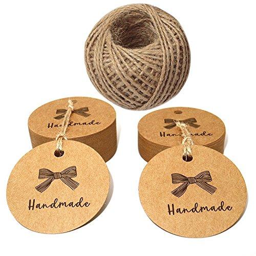 100 PCS Brown 'Handmade' Printed Kraft Paper Gift Tags, Round Kraft Hang Tags with 100 Feet Jute Twine