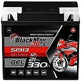 BlackMax G19 51913 Motorradbatterie GEL 12V 21Ah Batterie 519013017 ABS 19Ah