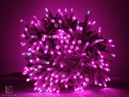 Luccika stringa catena di luci di Natale a led professionale con MaxiLed per ristoranti hotel strade e viali per uso esterno ed interno (Rosa con Flash Bianco Ghiaccio, 10 Metri - 100 LED)