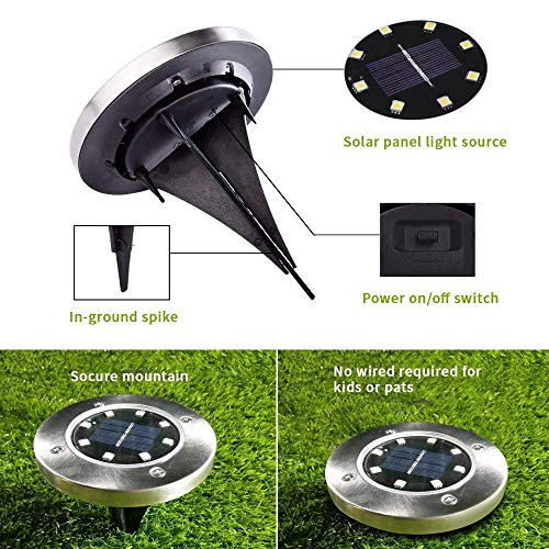 INCX Solar Ground Lights, 12 Packs 8 LED Solar Garden Lamp Waterproof In-Ground Outdoor Landscape Lighting for Patio Pathway Lawn Yard Deck Driveway Walkway White