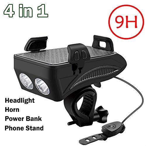 DIANAR LED Fahrradlicht, Wiederaufladbares USB Fahrradbeleuchtung Fahrrad Lampe 4 in 1, Wasserdicht 4000mAh 400 Lumen Tragbar-Schwarz