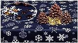 GOLDMAR: Elegante mantel de Navidad de 100 % poliéster, antimanchas, fácil de limpiar, mantel para Navidad, fiestas, cenas navideñas, 75 x 75 cm, color azul oscuro