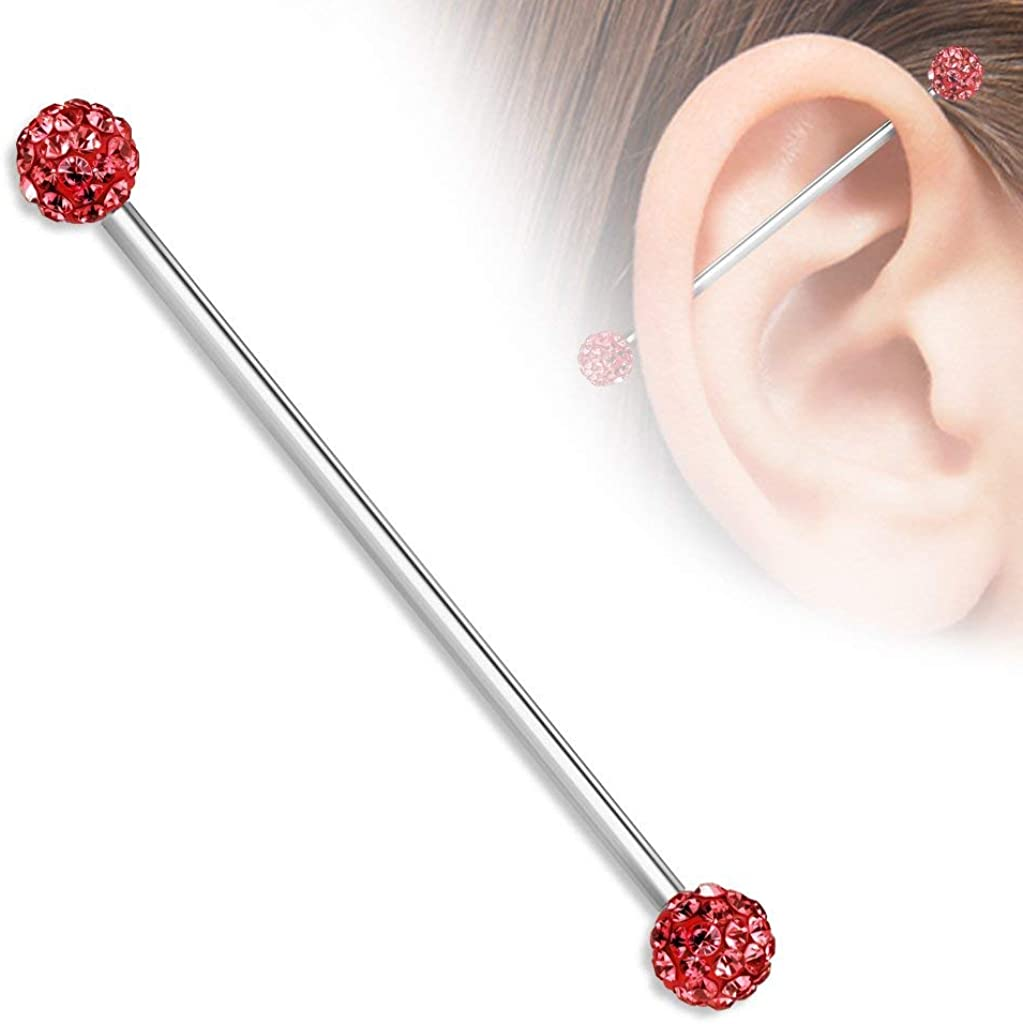 Ferido Industrial Barbell Ear Jewelry 14G with Epoxy Coated Balls 1pc