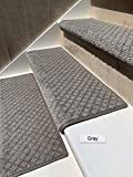 Oak Valley Designs Carpet Stair Treads - Style:Bayside Charm (31' Set of 14, Gray)