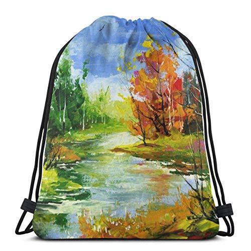 XCNGG Sporttasche Kordeltasche Reisetasche Sporttasche Schultasche Rucksack Autumn Landscape With The Wood River Unisex Drawstring Backpack Bag, Polyester Cinch Sack, Waterproof Sport Gym Bag Casual D