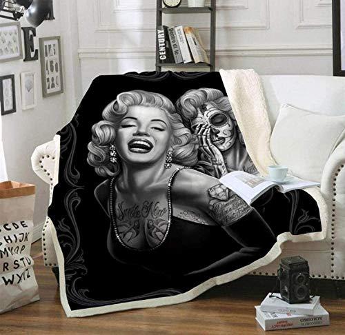 HGSWYUD Coperta in Flanella Neonato Stampa Marilyn Monroe 3D Coperta in Sherpa Coperta Calore Confortevole Copriletto e Divano Morbidi e Maneggevoli 150 * 200cm