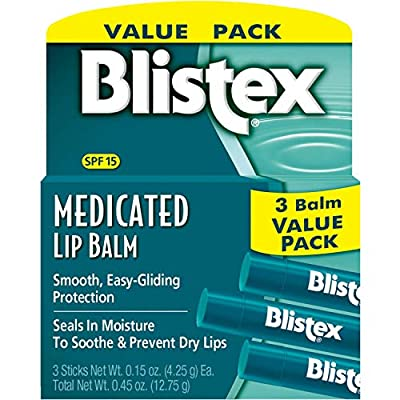 Blistex Medicated Lip Balm SPF 15, 0.15 Ounce (Pack of 3)