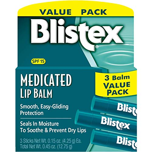 Blistex, Medicated Lip Balm, Lip Protectant/Sunscreen, SPF 15, 3 Balm Value Pack, .15 oz (4.25 g) Each