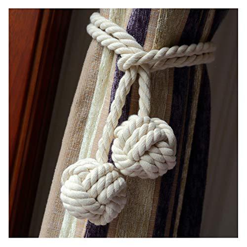 Coppia di fermatende a corda, fatti a mano, con giunto con nappa annodata a sfera, in cotone, accessori per tende White