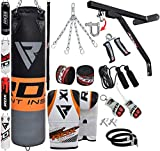 RDX Sac de Frappe 17pc Rempli Lourd MMA Punching Ball Muay Thai Arts Martiaux Kickboxing Kit Boxe avec Gants Chaine Suspension Support Mural Punching Bag