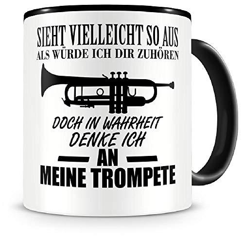 Samunshi® Ich denke an meine Trompete Musik Instrument Tasse Kaffeetasse Teetasse Kaffeepott Kaffeebecher Becher Trompete
