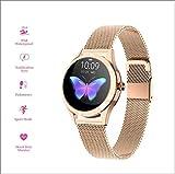 CHPIR Écran Tactile Ronde des Femmes IP68 Étanche Smartwatch, Tracker Fitness pour Sommeil Et Fréquence Cardiaque Podomètre, Android/iOS Bracelet,d'or