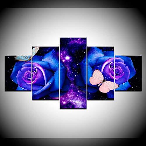 KJLTLD Canvas Prints - Blue rose - 100x55cm/40x22inch Nonwoven Flat Wall Decoration Wall Living Room - 5 Pieces - Art Prints - Ready to Hang - DA72949FA