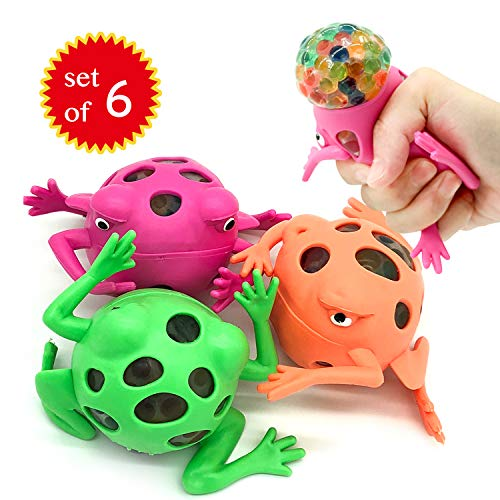 EUYZOU Anti Stress Squishy Multicolored Hand Exercise DNA Ball Slime Prime Toys for Kids Animal Stress Ball ADHD Fidget Toys The Shape of Frog Set of 6