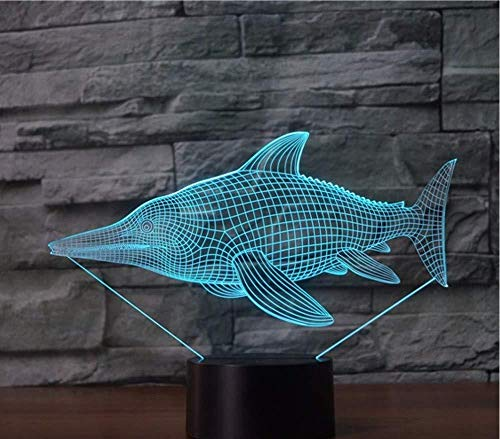 3D Illusion Night Light RGB Led 7 Color Change Fish Bookcase Family Shop Romantic Atmosphere Kids Friends Holiday Gifts