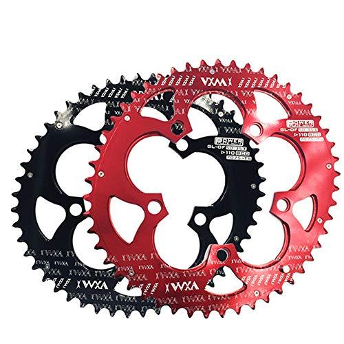 Kettenblätter Radsport Fahrrad Double Oval Kettenblatt 110BCD Chainwheel für Rennrad, Mountainbike, BMX MTB Bike 50T / 35T Verfolgen Sie Fixed-Gear-Fahrrad (Farbe : Rot, Größe : 110BCD 50T/35T)