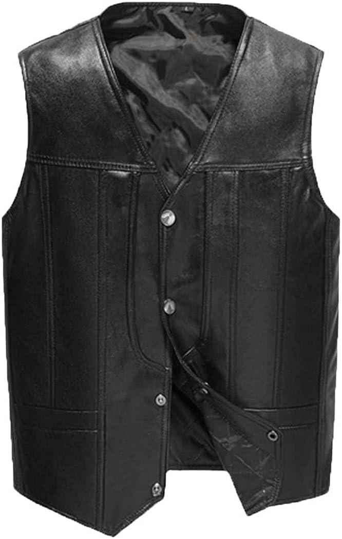 Mens Leather Jacket Sheepskin V-Neck Vest Natural Leather Spring Slim Fit Vest