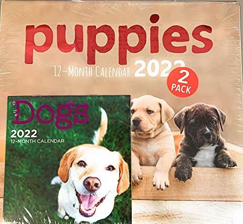 """Steelpangal - 2022 2-pack PUPPIES 12- Month Wall Calendar 12"""" x 11"""" ** Bonus Desk calendar DOGS MANS BEST FRIEND UNCONDITIONAL LOVE Owners fosters shelters lovers Rescue"""
