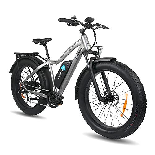 DERUIZ Lava Bicicletas eléctricas para Adulto, Fat Tire Bike de 26 Pulgadas Bici Todo Terreno, Bicicleta de Montaña con 48V 624Wh Batería de Litio extraíble