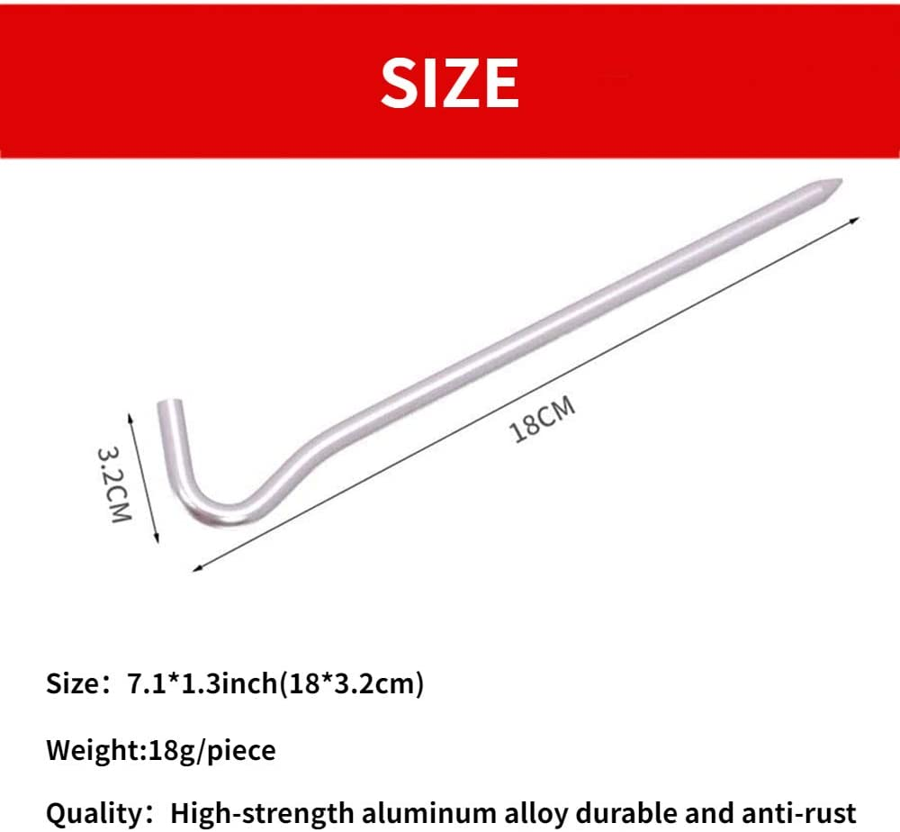 Tent Peg Light Weight Aluminum Alloy Resistant Durability Outdoor Peg with Storage Bag 6//12pcs
