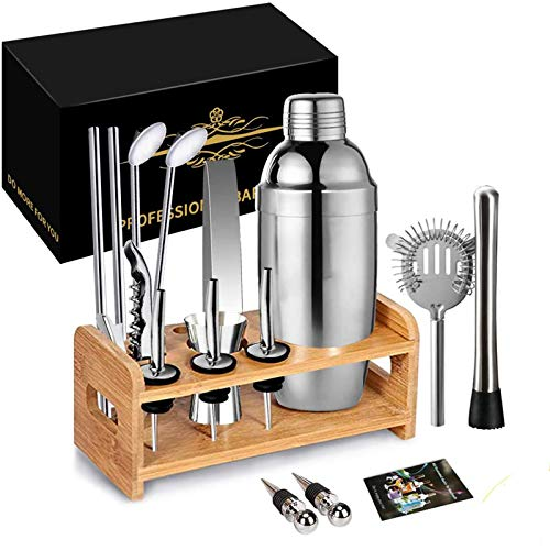 17 Piece Cocktail Shaker Set Bartender Kit with Stand 750ml Professional Stainless Steel Bar Tool Set for Drink Mixing,Best Home Cocktail Making Tools Shaker Set
