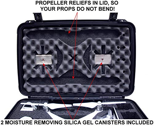 Case Club Waterproof DJI Phantom 4 Drone Wheeled Case with Silica Gel (Propellers On)
