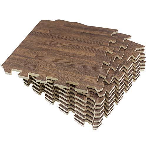Amazon Brand - Umi Tapis de sol en mousse à emboîtement Tapis de puzzle en grain de bois (30cmx30cm (9 tapis-9 Square Feet), Foncé)