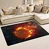 ALAZA Basketball on Fire Space Area Rug Rugs Carpet for Living Room Bedroom 60 x 39 inches