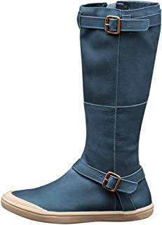 Women's Knee High Boots Side Zip Buckle Rome Retro Vintage Flat Riding Boots Round Toe Wide Calf Thigh High Boots