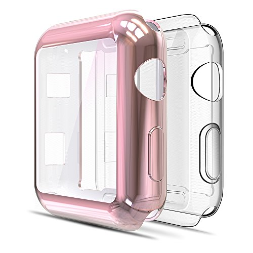 Simpeak Funda Compatible con iwatch 38mm Series 3/2(1*Transparent + 1*Rosa Dorado), 2 Packsligero y Suave de Silicona Ultra Fino TPU [Cobertura Completa] Compatible para iwatch 38mm