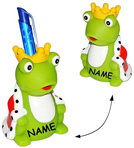 alles-meine.de GmbH Froschkönig  - Stiftehalter / Stifteköcher / Stiftebox - incl. Name - für Kinder & Erwachsene - Frosch - Tier mit Krone - Stifte Stift - Büro / Kugelschrei..