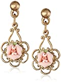 1928 Jewelry Porcelain Rose Gold and Pink Drop Earrings