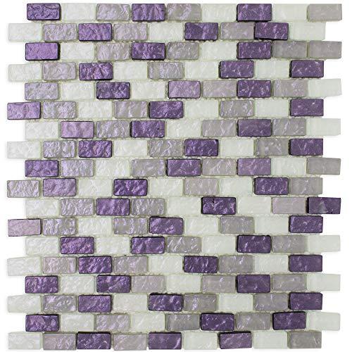 TPRNG-01 Small Brick Pearl Look Purple Glass Mosaic Tile Backsplash (10 Sheets)
