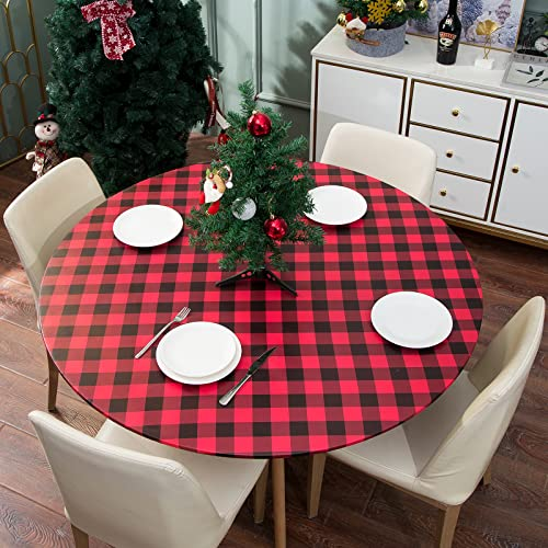 smiry Checkered Table Cloth Cover, Elastic Fitted Flannel Backed Vinyl Tablecloth for 36'-44' Round Tables, Waterproof Wipeable Buffalo Plaid Gingham...