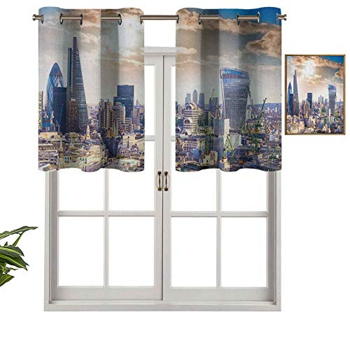 Hiiiman Small Window Valance Curtains Home Decor Modern District London Aerial Image Famous Architecture Dramatic Sky in England, Set of 1, 50'x18' for Kitchen Dining Girls Room Light Filtering