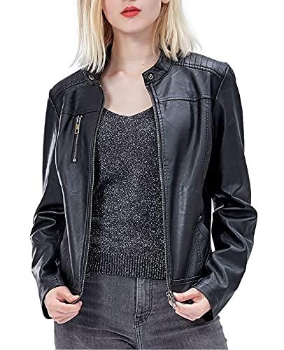 Fahsyee Women's Faux Leather Jackets, Zip Up Motorcycle Short PU Moto Biker Outwear Fitted Slim Coat Black Size M