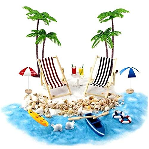 OMMO LEBEINDR Accesorios de la casa de muñecas, 18pcs, Conjunto de Playa en Miniatura Decoración de la Playa Micro Paisaje con tumbonas sombrillas Palmera para el Verano